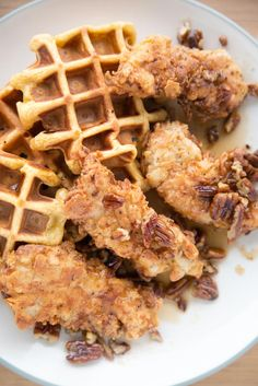 Buttermilk Fried Chicken, Sweet Potato waffles and butter pecan syrup