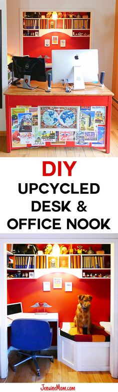 DIY Upcycled Computer Desk & Office Nook | JenuineMom.com ||| Ok, seriously? I love everything about this. If your work area has to be public facing, this is the way to go! I love the sweater cushion on the visitor bench (that would be where my girls would hang out as well). The red really energizes it. And those LEDs for the keyboards? Genius!