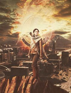 cool pic of Katniss, and the fire moves in the backround