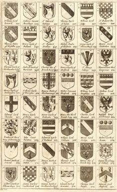 Arms of knights of the Garter. 'Arms of knights of the Garter', Wenceslas Hollar, Make Your Own Logo, Family Shield, Female Knight, Art Of Manliness, Medieval Life, Family Roots, Family Crest, Crests, Letter Logo