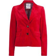 Brunhilde Corduroy Blazer | Moda Operandi (1.895 RON) ❤ liked on Polyvore featuring outerwear, jackets, blazers, cordoroy jacket, blazer jacket, red jacket, red corduroy jacket and lapel jacket