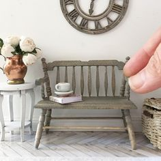 French oak loveseat back in stock Miniature Furniture, Dollhouse Furniture, Barbie Furniture, Home Furniture, Outdoor Furniture, Outdoor Decor, French Oak, Rustic French, Doll Houses