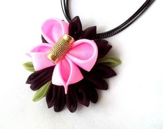 Butterfly Pendant Pink and Plum Tsumami by ScarlettandMaria