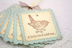 Gift Tags  A Little Bird Told Me by seasonaldelights on Etsy
