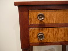 S25 Antique Cherry Stand Table Nightstand 2 Tiger Maple Drawers Turned Legs | eBay