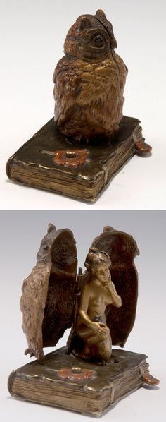Franz Xaver Bergmann, Vienna. Erotica, c1900. Owl sitting on a book. When button is pushed, owl opens to reveal a naked woman inside. H. 8.2 cm. Bronze, auburn and gold patina in places. Marked: Founder's mark Nam Greb (faint).  |  SOLD 2,400 EUR, May 19, 2015