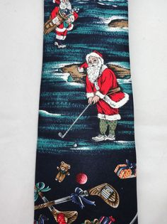 Mens 100% Silk Tie GOLFING Christmas SANTA by STAFFORD Novelty Golf Club  #christmasgifts