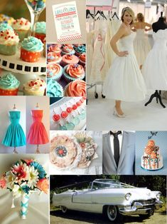 my 50's inspired wedding :) :  wedding bouquet bridesmaids cake dress inspiration invitations teal 50s