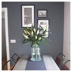 Paint colour - lounge or dining room- Farrow and Ball 'Downpipe' Living Room Grey, Living Room Decor, Bedroom Decor, Grey Dining Rooms, Bedroom Ideas, Hallway Colours, Room Colors, Blackened Farrow And Ball, Style At Home