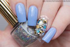 Periwinkle rhinestone nails #nailart #nails