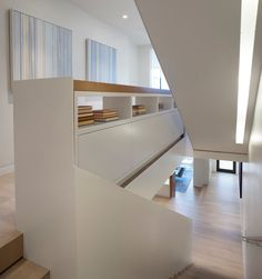 John Maniscalco Architecture produces work based on two principles - creating livable, modern spaces and engaging clients in the design process. Stairs And Staircase, Modern Staircase, House Stairs, Staircase Design, Staircases, Stair Steps, Minimal Home, Stair Storage, Modern Spaces