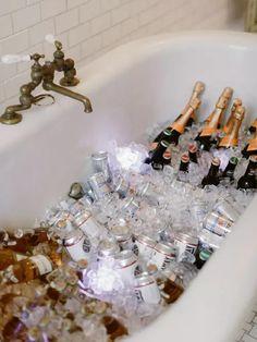 Champagne and beer in ice-filled bathtub at modern glam wedding Loft Wedding, Great Gatsby Wedding, Whimsical Wedding, Masculine Wedding, Geometric Tiles, Modern Loft, Good Music, Real Weddings, Champagne