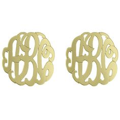 Initial Reaction Golden Monogram Script Button Earrings ($210) ❤ liked on Polyvore featuring jewelry, earrings, accessories, gold, monogram earrings, 14k earrings, earrings jewelry, button earrings and letter jewelry