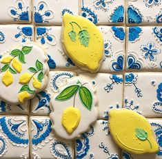 One dozen sugar cookies designed to resemble Mediterranean tiles and assorted lemon cookie designs. Each cookie in its own bag. Be sure to convo me for availability if your event is less than 2 weeks away. Christening Cookies, Poppy Seed Cookies, Lemon Party, Summer Dessert Recipes, Royal Icing Cookies, Fancy Cookies, Custom Cookies, Chocolate Filling, Lemon Cookies