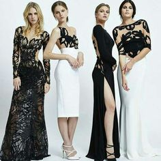 Vestidos elegantes blanco y negro