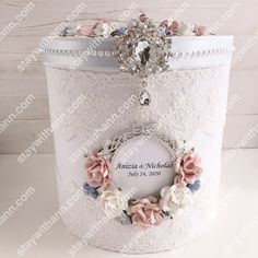 Dusty Blue, Dusty Rose, White And Silver Personalized Wedding Card Box Money Box Wedding, Card Box Wedding, Wedding Guest Book, Ring Pillow Wedding, Wedding Glasses, Silver Wedding Rings, Flower Girl Basket, Blush Roses, Dusty Blue