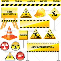 Warning and under Construction Signs - Miscellaneous Vectors