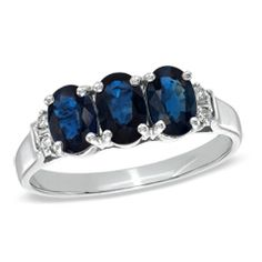 Oval Blue Sapphire and Diamond Accent Three Stone Ring in 10K White Gold - Size 7