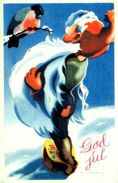 Julekort  Milly Heegaard Fint nissekort brukt 1943