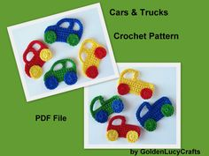 Crochet Pattern Car and Truck Applique by GoldenLucyCrafts on Etsy