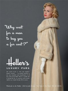 The ad for Heller's Luxury Furs that catches Roger Sterling's eye in Mad Men Episode 6.