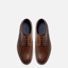 Image 4 of LEATHER BLUCHERS WITH BROGUEING AND A TRANSPARENT SOLE from Zara