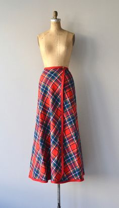 a7ceffc3e Vintage 1970s Pendleton plaid wool maxi wrap skirt with red banded trim and  wooden button closure