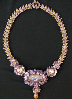 Spring Lavender necklace by Cielo Design, via Flickr note use of semi precious stone chips