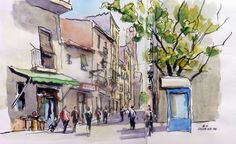 Painting For Home Decoration Referral: 6730144573 Painter Artist, Urban Sketching, Arts Barcelona, Painting, Interior Illustration, Painting Projects, Watercolor Journal, Watercolour Inspiration, Travel Sketches