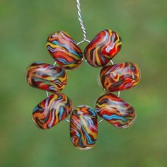 Tartan Twist  Set of 7 Encased Lampwork Beads  Dan O by koregon, $22.00