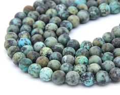 Matte African Turquoise Beads 6mm 8mm 10mm Natural Turquoise Beads Blue Green Gemstone Beads Mala Beads Men Women Vintage Jewelry Supplies