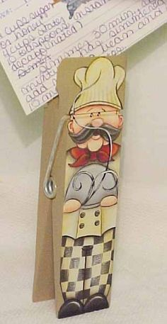Hand Painted Chef on Giant Clothespin Recipe Holder