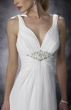Floral Shoulder Empire Waist A-line Wedding Dress