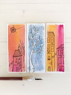 Handmade bookmark with original illustration in watercolor and ink / Gift for readers / Write your own message on the backside writing Creative Bookmarks, Diy Bookmarks, Watercolor Bookmarks, Watercolor And Ink, Pixel Art, Bookmark Craft, Book Markers, Gifts For Readers, Art Plastique