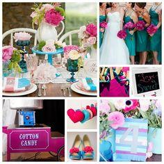 Fuchsia and Teal Wedding Inspiration Board
