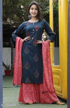 Kurta Sets Women's Printed Daily Wear Kurta Set with Sharara Kurta Fabric: Rayon Bottomwear Fabric: Rayon Fabric: Rayon Sleeve Length: Three-Quarter Sleeves Set Type: Kurta With Dupatta And Bottomwear Bottom Type: Sharara Pattern: Printed Multipack: Single Sizes: XXL Country of Origin: India Sizes Available: S, M, L, XL, XXL, XXXL, 4XL, 5XL, 6XL, 7XL, 8XL   Catalog Rating: ★4.3 (1016)  Catalog Name: Women's Printed Rayon Kurta Set with Sharara CatalogID_2614982 C74-SC1003 Code: 557-13340971-7302