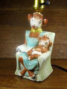 VINTAGE-AUTHENTIC-1950S-BORDENS-ELSIE-THE-COW-CALF-BEAUREGARD-CERAMIC-LAMP