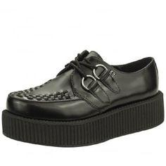 T.U.K. Shoes Viva High Sole Black Leather Creeper