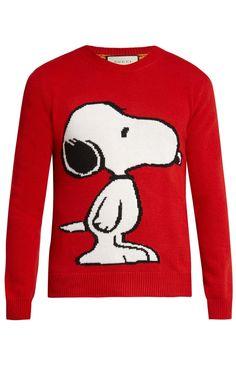 Gucci Snoopy Intarsia Wool Crew-neck Sweater In Red Wool Gucci Jeans, Air Jordan, Reebok, Nba, Cute Beagles, Tiger Stripes, Burberry Men, Adidas, Geek Outfit