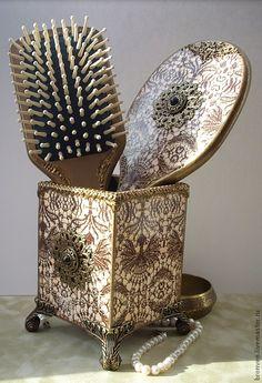 """Купить Набор для туалетного столика """"Средневековая мадонна"""" - коричневый, набор акссессуаров, комплект акссесуаров"""
