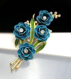 Crown Trifari Blue Enamel Flower Brooch Rhinestones 1960s Vintage | eBay