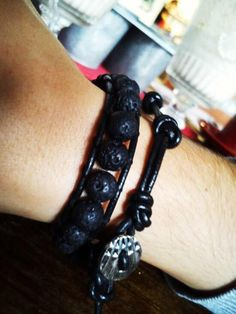 Mens custom made lava beads wrap bracelet by So cliché jewelry  https://www.facebook.com/soclichejewelry