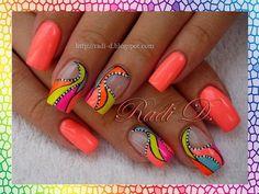 .neon abstract nail