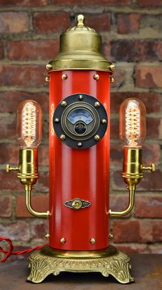Steampunk Steam Whistle  Table Light  Red Steampunk by Timberson