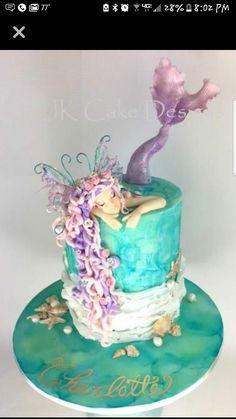 Mermaid birthday cake ---- pretty but mermaid would have to look like Inara Fancy Cakes, Cute Cakes, Pretty Cakes, Beautiful Cakes, Amazing Cakes, Mermaid Birthday Cakes, Mermaid Cakes, Cake Birthday, Birthday Cake Design