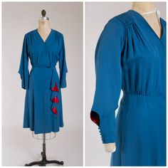 Vintage 1940s Dress Darling Ditties Blue by SimplyVintageCo