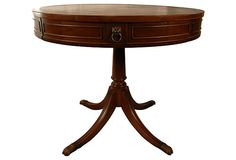 """Drum Table w/ Leather Top - 34""""W x  29""""H - for between 2 green Velvet Arm Chairs"""