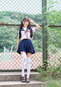 Asian Girl in white shirt & dark blue dress School Girl Japan, Japanese School Uniform Girl, School Uniform Fashion, School Girl Outfit, School Uniform Girls, Student Fashion, Japan Girl, Girl Outfits, Fashion Outfits