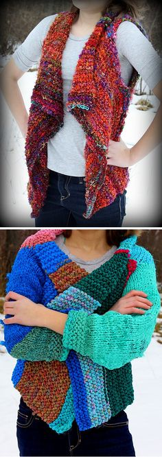 Free knitting pattern for Adventure Cardi using recycled yarn - Denae Merrill offers a universe of options with this pattern for a vest or cardigan with various sleeve lengths. She also gives instructions for five different types of recycled yarns. Sizes XS-XL #free