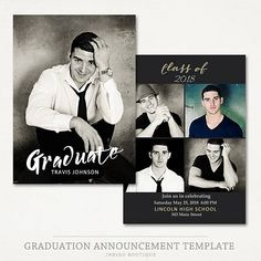 Senior Graduation Announcement Template For Photographers